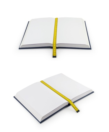 made to measure: Notebook with bookmark made of tape measure  (Clipping path) Stock Photo