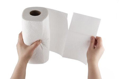 hand towel: Hand tearing paper towel  Stock Photo