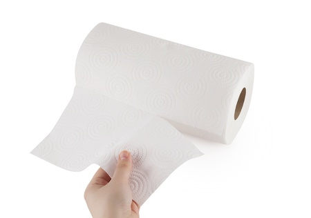 Hand touching paper towel  Stock Photo - 10587100
