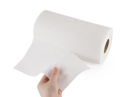 sanitary towel: Hand touching paper towel