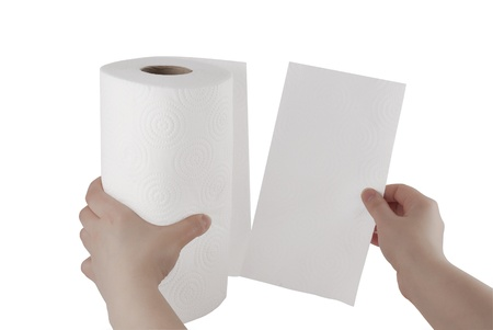 woman in towel: Hand tearing paper towel
