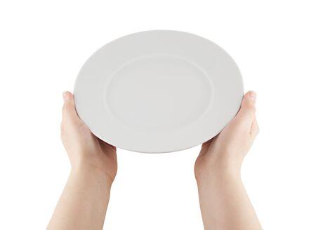 serving utensil: Hands holding empty plate