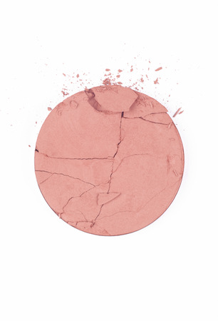 Crushed blush on white background