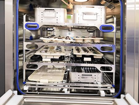 Prepared Surgical Instruments On Machine For Disinfection