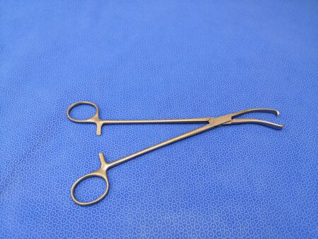Medical Surgical Instrument Vulsellum Forceps Using For Obstetrics And Gynecology Procedure