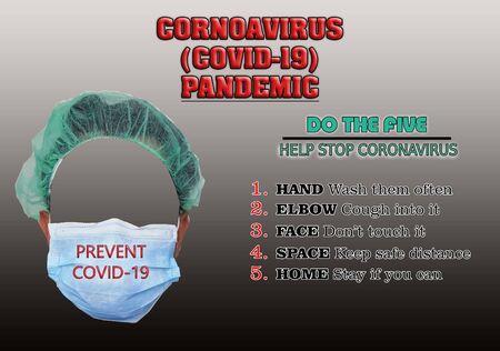 Five Preventive Methods Of Novel Corona Virus (COVID-19) Stock Photo
