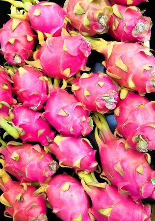 Closeup Image Of Beautiful Pitaya Fruits Or Dragon Fruits