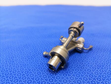 Medical Surgical Channel Bridge Connector. Focused On The Tip Of Instrument.