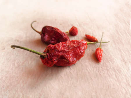 Closeup Image Of Dried Red Chili Peppers 写真素材