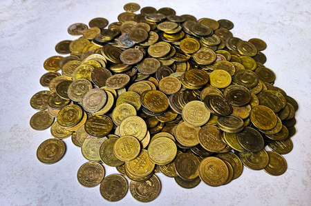 Closeup Image Of Bahrain's Golden Color Coins