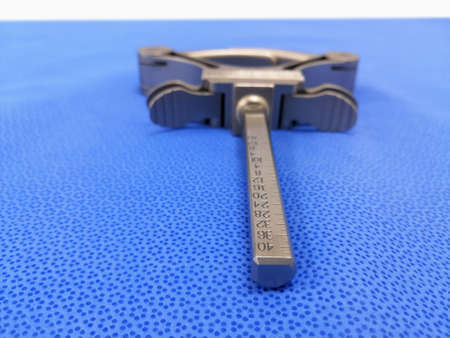 Closeup Image Of Surgical Angle Clamp Using For Total Knee Replacement Surgery. Selective Focus Stock fotó