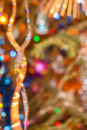 Christmas and New Years background. Abstract blurred background with bokeh. Stock Photo