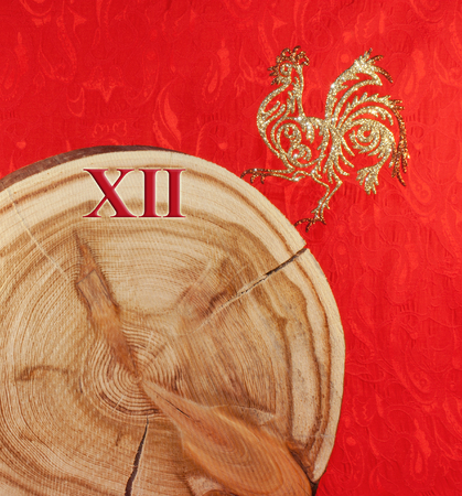 annual ring annual ring: Saw cut as New Year`s clock and symbol of year golden rooster on red patterned fabric background. New year or Christmas background.