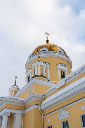 Golden domes of St. Nicholas Cathedral in Ekaterinburg, Russia. Side view.