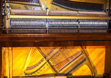 acoustics: Musical instruments. The internal structure of a piano.