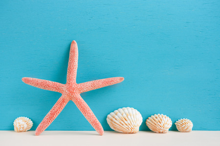 Red starfish and set of four small seashells standing on beige surface on turquoise background.