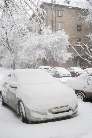 Close-up snow-covered parked cars and trees near residental house during strong snowfall.