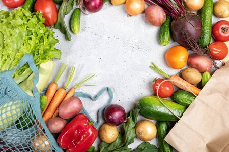 Fresh vegetables in net bag and in paper bag and laid out on concrete background with copy space.