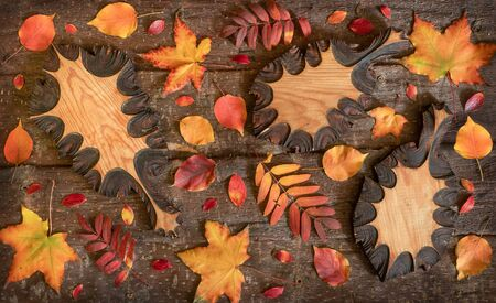 Flat lay composition of colorful natural leaves and wooden carved leaves on tree bark background.