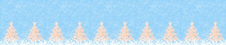 Wide festive creative christmas banner: row of wooden christmas trees on snowy light blue background. Xmas decorations. Zero waste Christmas. Copy space. Imagens