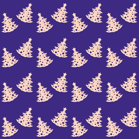 Christmas diy decorations. Festive creative seamless pattern of carved wooden christmas trees on trendy purple background. Zero waste Christmas. Square photo. Imagens