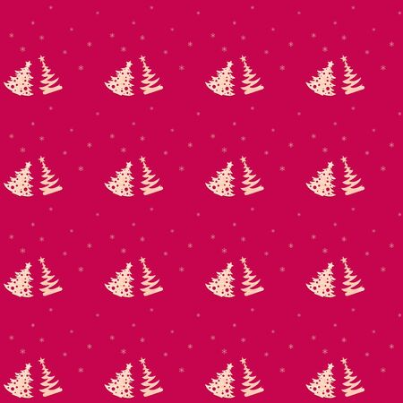 Christmas diy decorations. Festive creative seamless pattern of two carved wooden christmas trees and snowflakes on Rose Red background. Zero waste Christmas. Square photo.