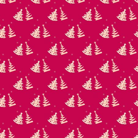 Christmas diy decorations. Festive creative seamless pattern of carved wooden christmas trees and snowflakes on bright Rose Red background. Zero waste Christmas. Square photo.
