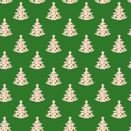 Christmas decorations. Festive creative seamless pattern of carved wooden christmas trees on green background. Zero waste Christmas. Square photo. Imagens