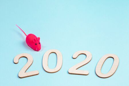 2020 Merry Christmas, Happy new year concept. Wooden numbers with bright pink toy rat on light blue. Close-up, copy space.