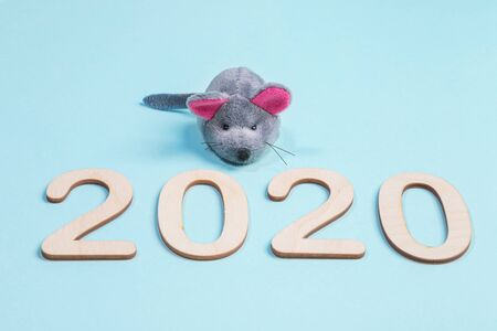 2020 Merry Christmas, Happy new year concept. Close-up wooden numbers with grey toy rat on light blue background. Selective focus.