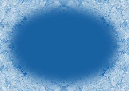 Christmas background in trendy color 2020 Classic Blue. Winter frosty window pane with copy space. Trendy blue toning. Stockfoto