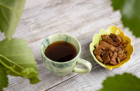 Ceramic cup of healing beverage of birch mushroom chaga, bowl of mushroom pieces on light wooden backdrop. Trendy healthy beverage, superfood improving immunity. Copy space. Green birch leaves above.
