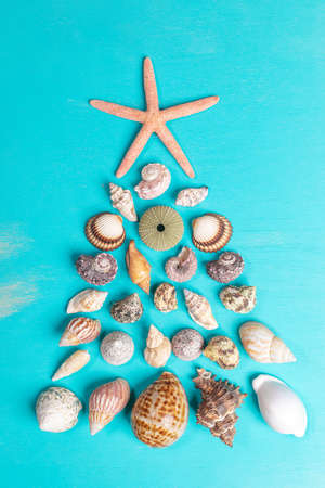 Many small various seashells and one starfish are laid out in the form of Christmas tree on painted turquoise wooden background. Alternative Xmas tree. Xmas holiday background. Vertical orientation.