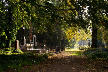 all saints  day: Cemetery - All Saints Day of the Dead Stock Photo