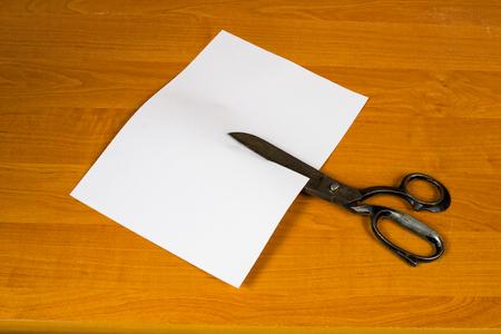 cut paper: a sheet of paper cut by scissors Stock Photo
