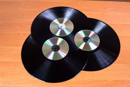 cds: Audio CDs - old and new Stock Photo