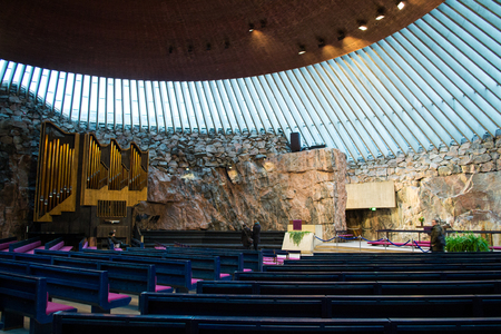 pews: Rock Church in Helsinki, Finland Stock Photo