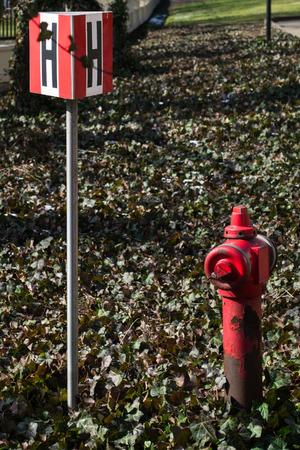 borne fontaine: Bouche d'incendie, marqu�e Banque d'images