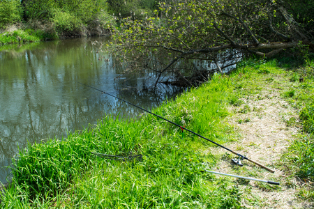 rhodium: Rod on the river bank Stock Photo