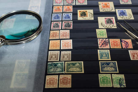 Philately album with postage stamps