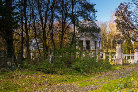 Historic Jewish cemetery in the city of Lodz, Poland Stock Photo