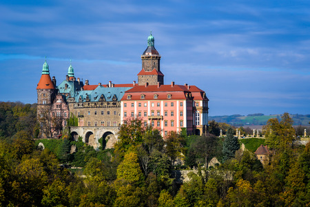 The majestic baroque castle of Ksiaz, residence Hochbergow, Lower Silesia, Poland, Europe Stockfoto