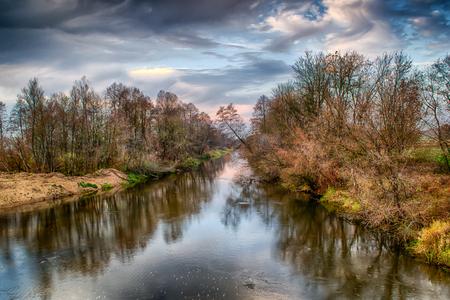 Autumn on the Widawka river, Poland Reklamní fotografie