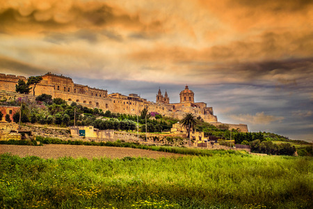 Mdina is a quiet city in Malta, a landscape visible from the fortifications.
