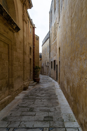 Picturesque narrow streets in Mdina on the island of Malta