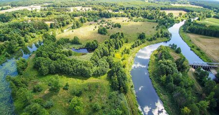 Mysterious river Widawka in summer day, Poland