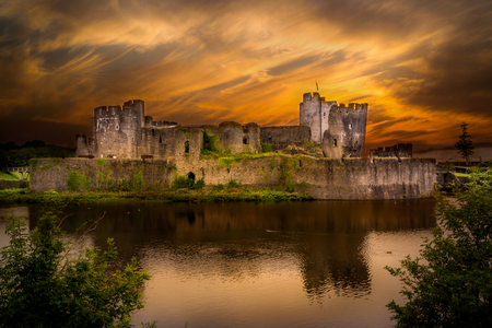 Caerphilly Castle - A Norman castle located in the city of Caerphilly in South Wales.
