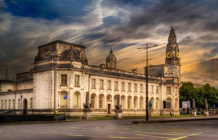 Streets and architecture of the city of Cardiff, Wales.
