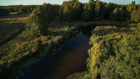 The mysterious river Grabia on a summer day, Poland, 2019.