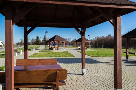 Parking with places to play and relax. Stock fotó - 134802590
